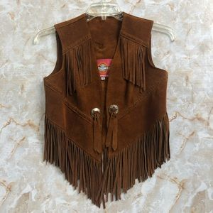 1960 Vintage Ms.Pioneer Leather Fringe Suede Vest